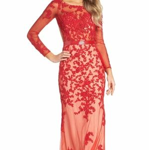 Mac Duggal 62062M open back embroidered tulle gown